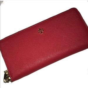 Red Tory Burch Continental Wristlet Wallet